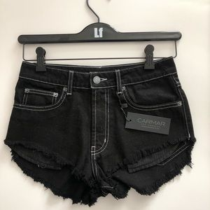 Carmar denim black stitched shorts